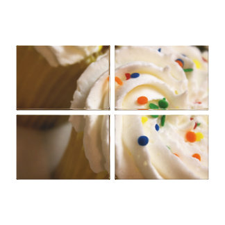 Yummy cupcake close up photo quad canvas gallery wrapped canvas