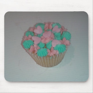 Yummy Cupcake Pink and Blue Hearts Mousemat