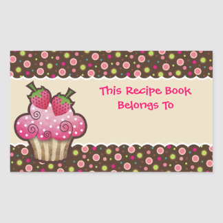 Yummy Cupcake Recipe Book Bookplates Labels Rectangular Sticker