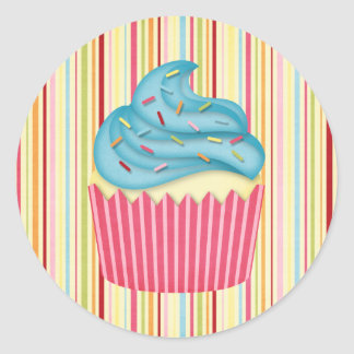 yummy cupcake round sticker