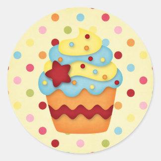 yummy cupcake round sticker