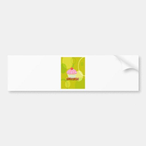 Yummy Cupcake Sweet Yellow Color Bumper Sticker