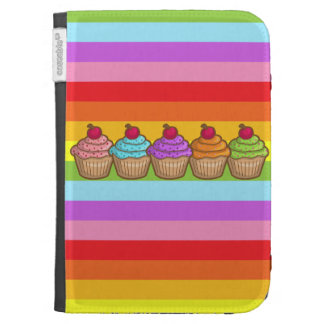 Yummy Cupcakes and Rainbow Stripes Kindle 3G Cover