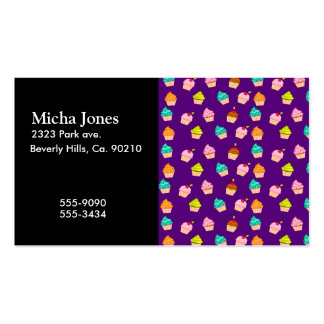 Yummy Cute Cupcakes On Purple Business Card