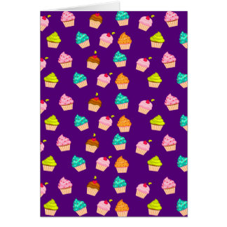 Yummy Cute Cupcakes On Purple Greeting Card