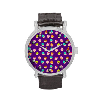 Yummy Cute Cupcakes On Purple Wristwatches