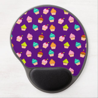 Yummy Cute Cupcakes On Purple Gel Mouse Pad