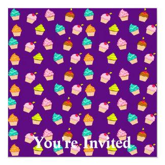 Yummy Cute Cupcakes On Purple 13 Cm X 13 Cm Square Invitation Card