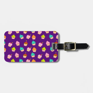 Yummy Cute Cupcakes On Purple Luggage Tags