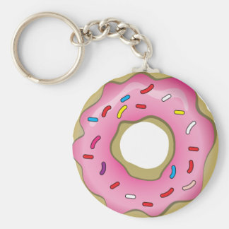 Yummy Donut with Icing and Sprinkles Basic Round Button Key Ring