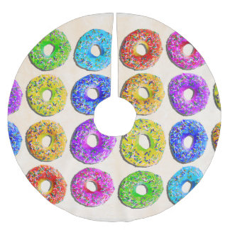 Yummy donuts pattern brushed polyester tree skirt