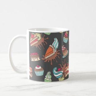 Yummy doodle cupcake pattern. coffee mug