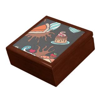 Yummy doodle cupcake pattern. gift box