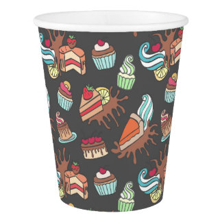 Yummy doodle cupcake pattern. paper cup