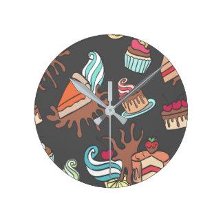 Yummy doodle cupcake pattern. round clock