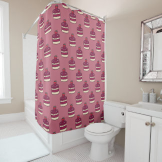 Yummy doodle cupcake pattern. shower curtain