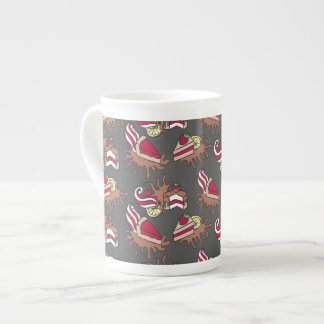Yummy doodle cupcake pattern. tea cup