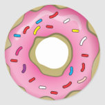Yummy Doughnut with Icing and Sprinkles Round Stickers