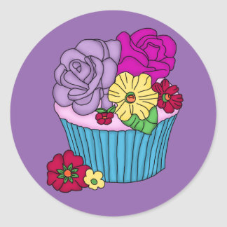 Yummy floral cupcake stickers