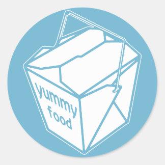 Yummy Food Take-out Box Classic Round Sticker