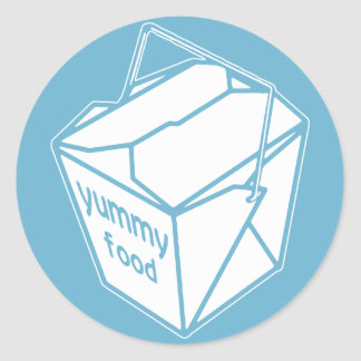 Yummy Food Take-out Box Round Sticker