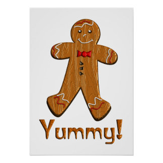 Yummy Gingerbread Man Poster