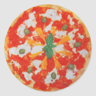 yummy italian pizza classic round sticker