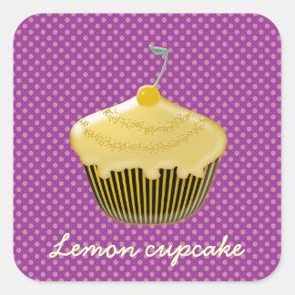 yummy lemon cupcake square sticker
