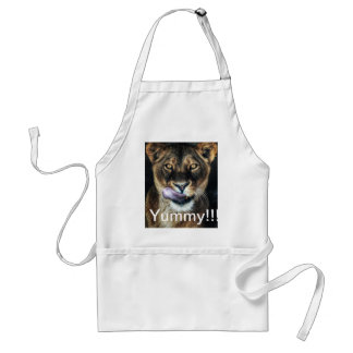 Yummy - lioness licking adult apron