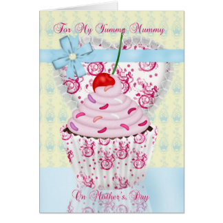 Yummy Mummy Mother's Day Card With Cupcake