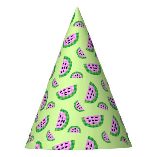 Yummy Neon Plaid Watermelon Slice Pattern Party Hat