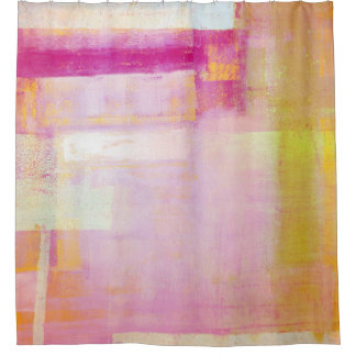 'Yummy' Pink and Orange Abstract Art Shower Curtain