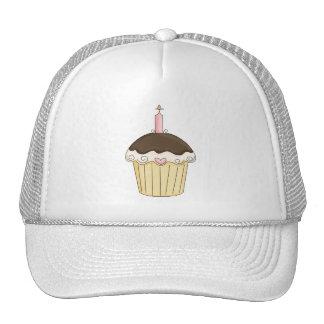 Yummy Pink & Brown Cupcake Strawberry Chocolate Mesh Hat
