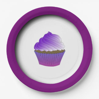 Yummy Purple Cupcake Personalized Paper Plate