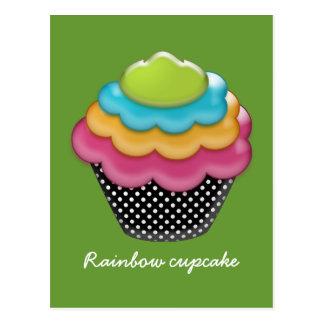 yummy rainbow cupcake postcard