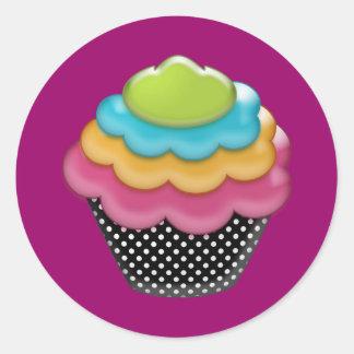 yummy rainbow cupcake round sticker