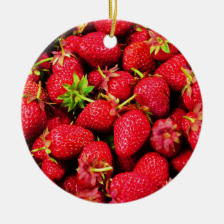 Yummy Strawberries Ceramic Ornament