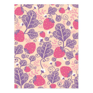 Yummy strawberries pattern postcard