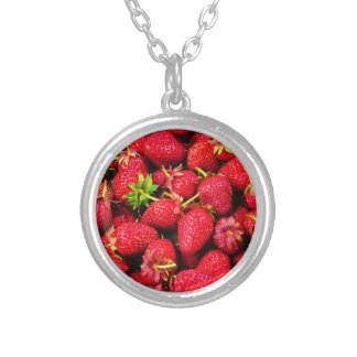 Yummy Strawberries Silver Plated Necklace