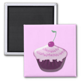 yummy strawberry cupcake square magnet