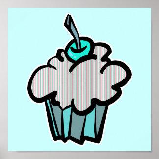 yummy stripes cupcake posters