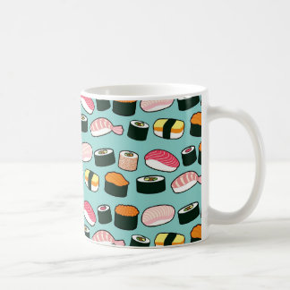 Yummy Sushi Fun Illustrated Pattern Coffee Mug