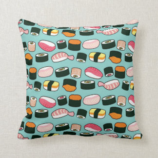 Yummy Sushi Fun Illustrated Pattern Cushion