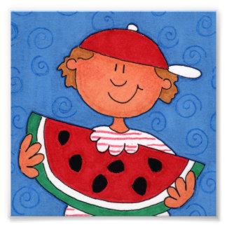 """Yummy Watermelon Boy 6"""" x 6"""" Photo Enlargement"""