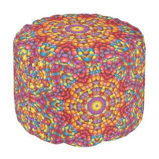 Yummy Yum Yum Kaleidoscope Round Pouf
