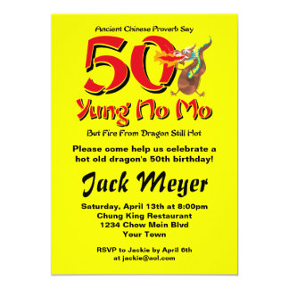 Yung No Mo 50th Birthday 13 Cm X 18 Cm Invitation Card