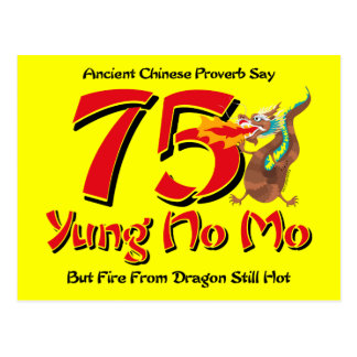 Yung No Mo 75th Birthday Postcard Invitation