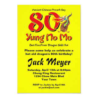 Yung No Mo 80th Birthday 13 Cm X 18 Cm Invitation Card