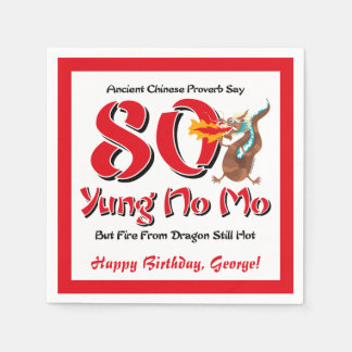 Yung No Mo 80th Birthday Paper Napkin