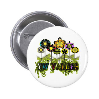YW Value Flowers Pinback Button